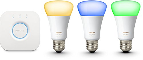 Philips Hue White & Color Ambiance E27 LED Lampe Starter Set, drei Lampen 3. Generation inkl. Bridge, dimmbar, bis zu 16 Millionen Farben, steuerbar via App, kompatibel mit Amazon Alexa (Echo, Echo Dot)