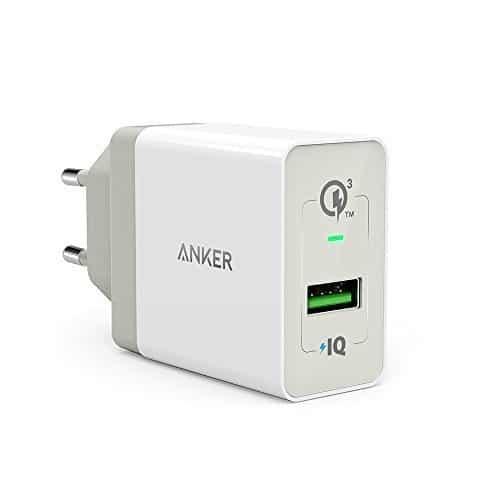Anker PowerPort+ 1 Quick Charge 3.0 18W USB Wand Ladegerät mit Power IQ für Galaxy S7 / S6 / Edge/Plus, Note 5/4, LG G4, HTC One A9 / M9, Nexus 6, iPhone 7 6 5, iPad und weitere (Weiß)