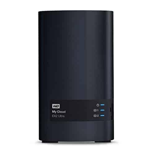 WD My Cloud EX2 Ultra 2 Bay NAS Festplatte 8TB Netzwerk-Speicher zum Streamen auf PC, Mobilgeräte, Spielkonsolen, Mediaplayer. Datensicherung für PC und Mac, externe Festplatte von Western Digital schwarz, WDBVBZ0080JCH-EESN