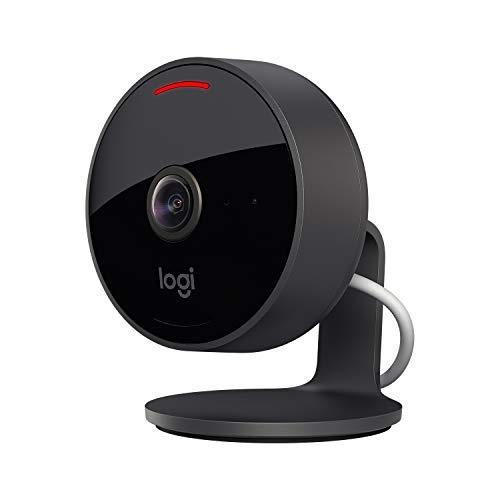 Logitech Circle View - wetterfeste kabelgebundene Überwachungskamera für zu Hause, 180° Weitwinkel, 1080p HD, Nachtsicht, 2-Wege-Audio, Verschlüsselung und Apple HomeKit Secure Video - Schwarz