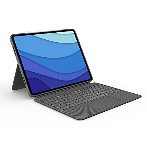 Logitech Combo Touch iPad Pro 12.9-inch (5th gen - 2021) Keyboard Case - Detachable Backlit Keyboard with Kickstand, Click-Anywhere Trackpad, Smart Connector - QWERTY UK English Layout - Grey