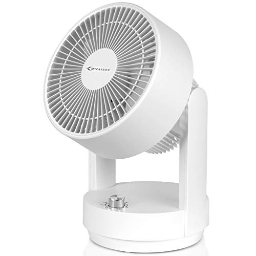 MYCARBON Tischventilator Leise Ventilator Luftzirkulator Oszillierend Lüfter Leise 360°Zyklus-Taste Raumventilator für Alter Mann im Büro, Schlafzimmer, Whonzimmer, Energiespare