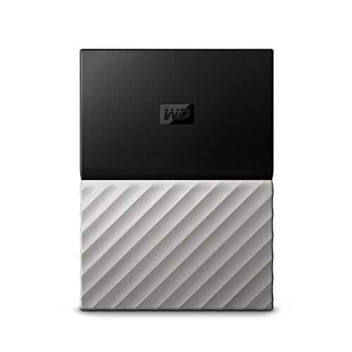 WD My Passport Ultra 2 TB, mobile externe Festplatte (6,4 cm / 2,5 Zoll), mit Kennwortschutz, Metallic-Oberfläche schwarz/gunmetal metallic, WDBFKT0020BGY-WESN