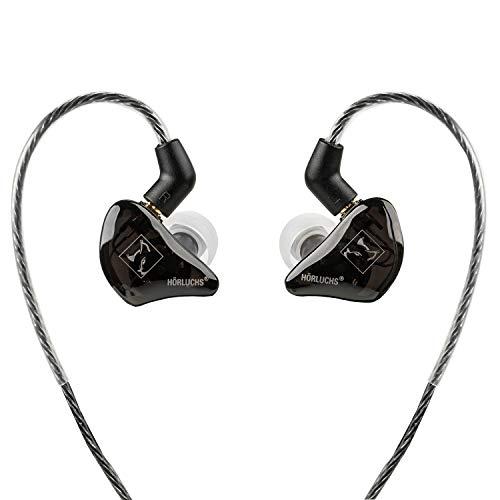 HÖRLUCHS EasyUp In-Ear Monitoring Kopfhörer für Musiker und Gamer, bassbetont, Wechselkabel, 3,5mm Klinkenstecker, Ohrstöpsel und Tasche, Schwarz