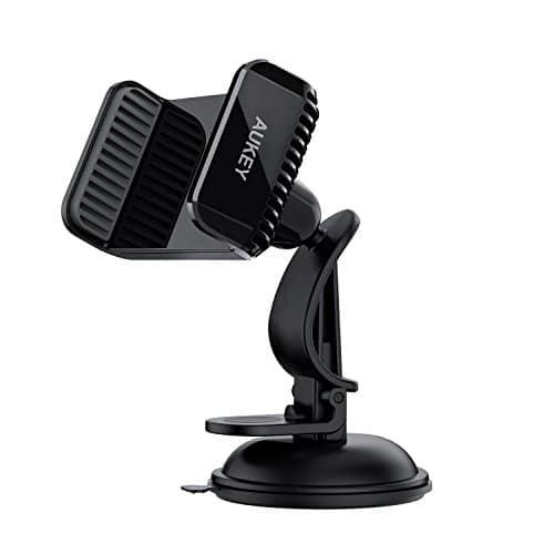 AUKEY Handyhalterung Auto Armaturenbrett Kfz Handyhalter für iPhone X / 8/7 Plus / 7/6, Samsung Note 9 / S9 usw. - Schwarz (Schwarz)