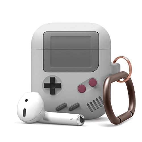 elago AW5 AirPods Hülle Silikon Case Kompatibel mit Apple AirPods Ladecase 2 & 1 - Design in der klassischen Handheld-Spielekonsole mit Schlüsselanhänger, Unterstützt Kabelloses Laden (Grau)