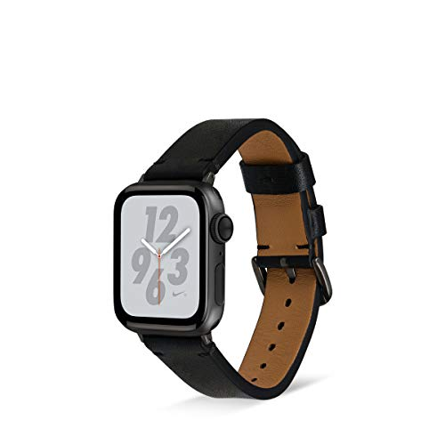 Artwizz WatchBand Leather Armband Designed für Apple Watch Series SE 6 5 4 3 2 1 [44mm / 42mm] - Echt-Leder Ersatzarmband mit Adapter - Schwarz