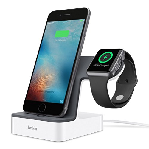Belkin PowerHouse 2-in-1 Ladestation (geeignet für die Apple Watch und das iPhone mit 1,2 m Ladekabel) weiß