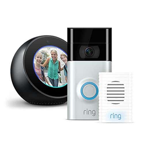 Echo Spot - Schwarz plus Ring Video Doorbell 2 mit Chime