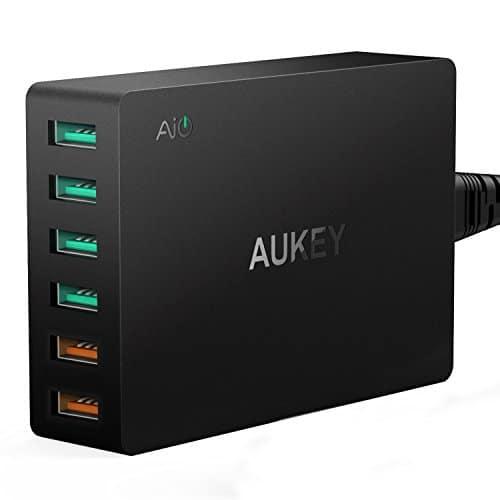 AUKEY Quick Charge 3.0 USB Ladegerät 6 Ports 60W Multi USB Netzteile für Samsung Galaxy S8 / S8+ / Note 8, LG G5 / G6, Nexus 5X / 6P, HTC 10, iPhoneX/8/8Plus, iPad Pro/ Air, Moto G4 usw.
