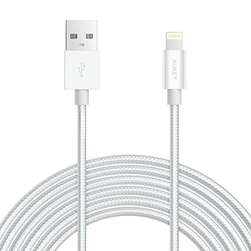 AUKEY Lightning Kabel 2m [ Apple MFi Zertifiziert ] Nylon Metallgehäuse iPhone Kabel für iPhone X / 8 / 8 Plus / 7 / 7 Plus / SE / 6s / 6s Plus / 6 / 6 Plus / 5 / 5c usw. - Silber