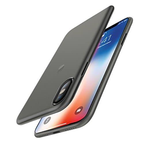 EasyAcc [Ultra Dünn 0.45 mm PP] Hülle Case für iPhone X, (Nicht für iPhone XS) Anti-Kratzer Handyhülle Cover Schutzhülle Leichte Tasche Kompatibel mit iPhone X - Halbtransparent Schwarz