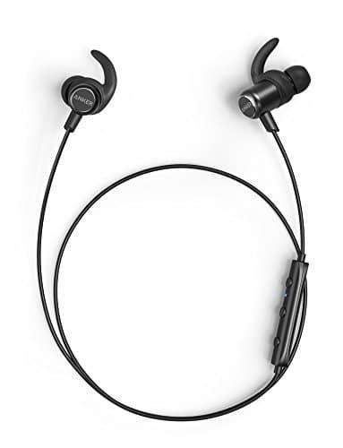 Anker SoundBuds Slim+ Bluetooth Kopfhörer Bluetooth 4.1 In Ear Kopfhörer Leichte Stereo Kopfhörer mit aptX High Resolution Sound, Personalisierbares Zubehör, IPX5 Wasserfeste Sportkopfhörer mit Metallgehäuse und Mikrofon