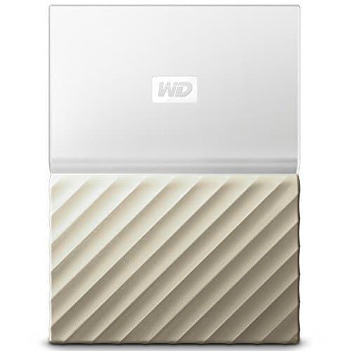 WD My Passport Ultra 2 TB, mobile externe Festplatte (6,4 cm / 2,5 Zoll), mit Kennwortschutz, Metallic-Oberfläche Weiß-Gold, WDBTLG0020BGY-WESN