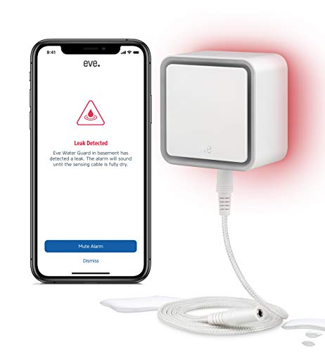 Eve Water Guard - Smarter Wassermelder, 2m Sensorkabel (verlängerbar), 100dB, Wasseralarm auf iPhone, iPad, Apple Watch (Apple HomeKit)