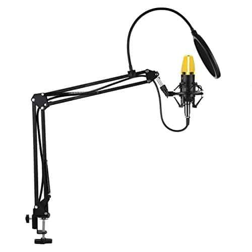 AUKEY Kondensator Mikrofon Set Pro mit Ständer, Popschutz, Geeignet für Studio und Rundfunk Aufnahmen (GD-G1) (Mikrofon)