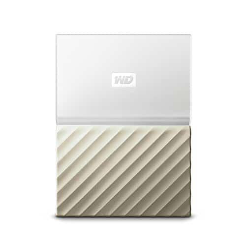 WD My Passport Mobile WDBFKT0020BGD-WESN 2TB Externe Festplatte (6,4 cm (2,5 Zoll), mit Kennwortschutz, Metallic Oberfläche) Weiß/Gold