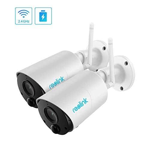Reolink Argus Eco Akku WLAN Überwachungskamera aussen 1080p IP Kamera Outdoor mit Zweiwege-Audio, microSD Kartenslot, Nachtsicht und PIR Bewegungsmelder (2 Stück)