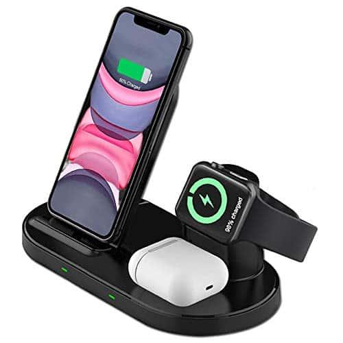 Raide Kabelloses Ladegerät Induktive Ladestation ,3 in 1 Wireless Ladestation für Apple Watch , AirPods Pro/2 Fast Wireless Charging Stand für iPhone 12/11/ Pro/Max/X/XS/XR / 8/8 Plus All QI-Enabl