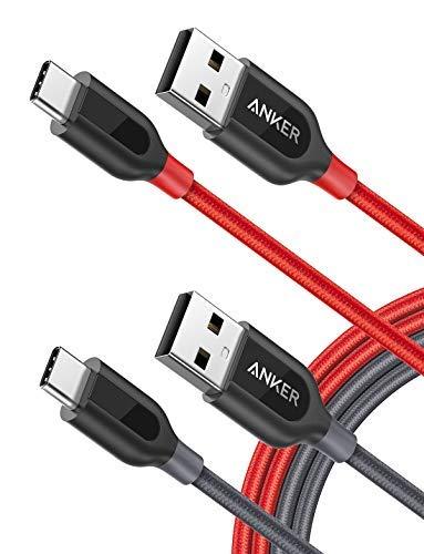 Anker [2-Pack Powerline+ USB C Kabel, 1.8m, für Galaxy S10, S9, S8+, S8, MacBook, Sony XZ, LG V20 G5 G6, HTC 10, Xiaomi 5 und Mehr