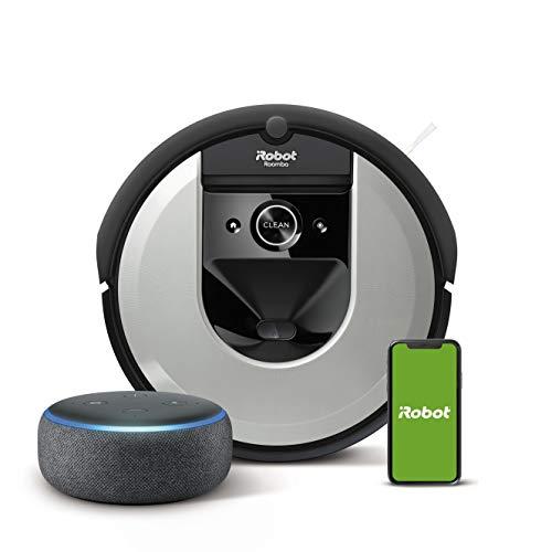 iRobot Roomba i7 (i7156) Saugroboter, 3-stufiges Reinigungssystem, intelligente Raumerfassung, WLAN App Staubsauger Roboter+ Echo Dot (3. Gen.) Intelligenter Lautsprecher mit Alexa, Anthrazit Stoff