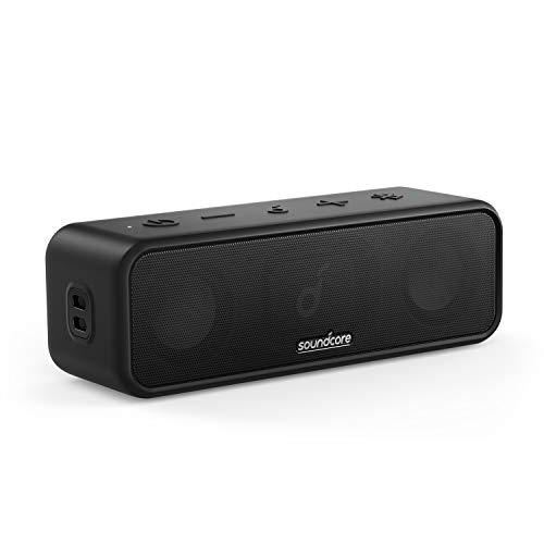 Soundcore 3 Bluetooth Lautsprecher, Stereo-Sound, Audiotreiber mit Titan-Membran, PartyCast, BassUp, 24 Stunden Akku, IPX7 Wasserschutz, individueller EQ, für Zuhause, Draußen, Garten