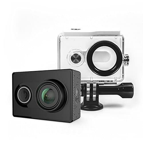 YI Action Kamera gebündelt mit Wasserfestem Gehäuse 16MP 2K 1080P/60fps mit 2.4G Wifi Bluetooth 4.0 - schwarz