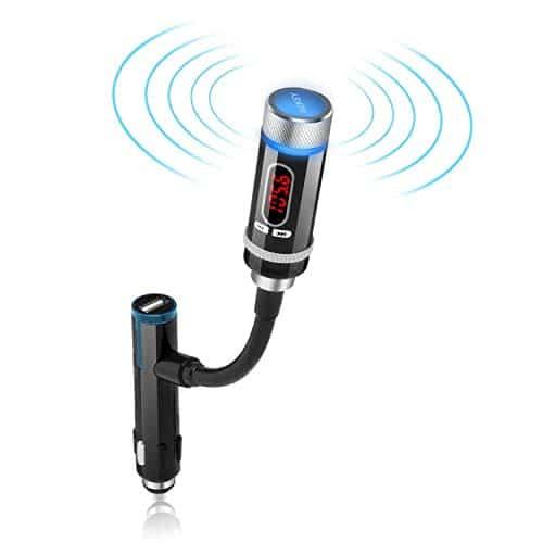 AUKEY Bluetooth FM Transmitter Auto Audio KfZ mit Freisprecheinrichtung, USB Port für Smartphones und Handys