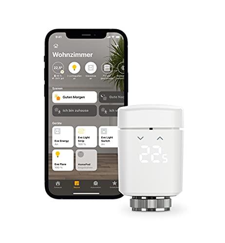 Eve Thermo - Smartes Heizkörperthermostat mit LED-Display, automatischer Temperatursteuerung, keine Bridge erforderlich, Bluetooth/Thread, Apple HomeKit, Made in Germany