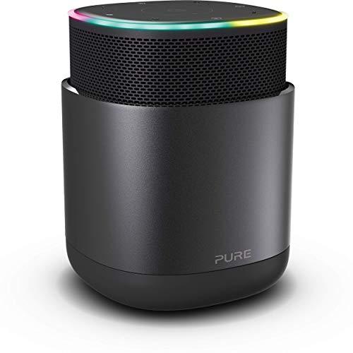 Pure DiscovR Smart Home Wireless Lautsprecher mit Alexa-Sprachsteuerung (360 Grad Sound, 15 Stunden Akku, Schnellladefunktion, Internet-Radio und speziellem Privatsphärenschutz), Schwarz