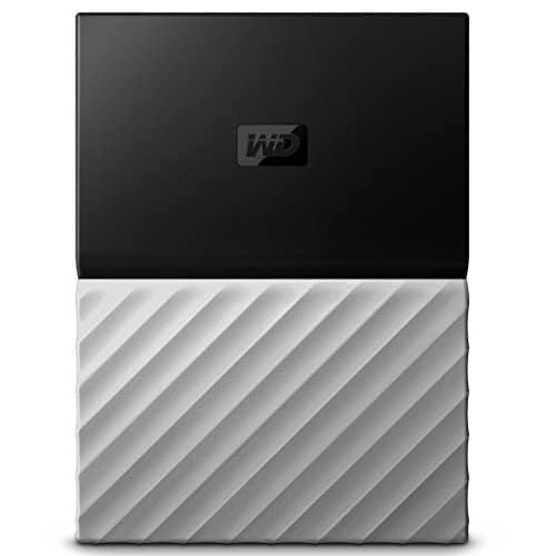 WD My Passport Ultra 2 TB, mobile externe Festplatte (6,4 cm / 2,5 Zoll), mit Kennwortschutz, Metallic-Oberfläche Schwarz-Grau, WDBTLG0020BGY-WESN