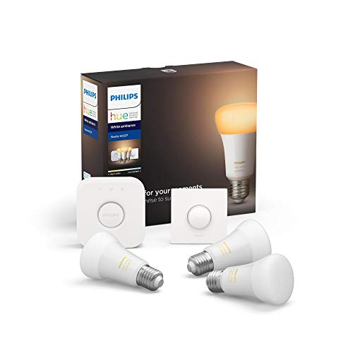 Philips Hue White Ambience E27 LED 3-er Starter Set, dimmbar, alle Weißschattierungen, steuerbar via App, kompatibel mit Amazon Alexa (Echo, Echo Dot)