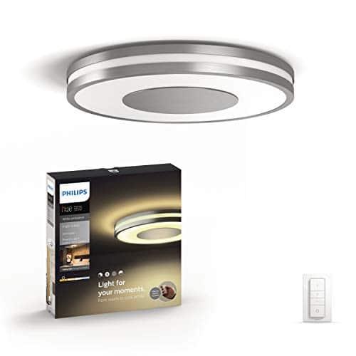 Philips Hue LED Deckenleuchte Being inkl. Dimmschalter, dimmbar, alle Weißschattierungen, steuerbar via App, aluminium, kompatibel mit Amazon Alexa (Echo, Echo Dot)