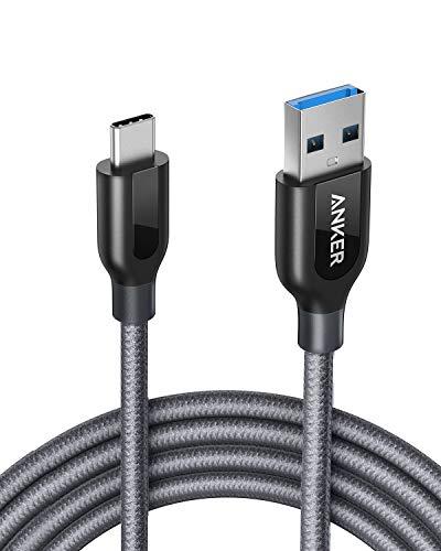 Anker Powerline+ 1.8m USB C Kabel auf USB 3.0 A, Nylon Ladekabel für USB Typ-C Geräte Inklusive Galaxy S8, S8+, S9, MacBook, Sony XZ, LG V20 G5 G6, HTC 10, Xiaomi 5 und weitere (Grau)