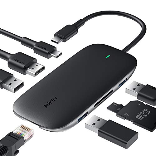 AUKEY USB C Hub 8 in 1 USB Type C Hub mit Ethernet Port, 4K HDMI, 2 USB 3.0 Ports 1 USB 2.0, 100W USB C PD Ladeanschluss, TF Micro SD Kartenleser für MacBook Pro Air, Chromebook Pixel, USB C Laptop