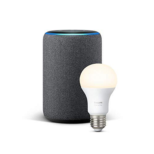 Echo Plus (2. Gen.), Anthrazit Stoff + Philips Hue White Lampe