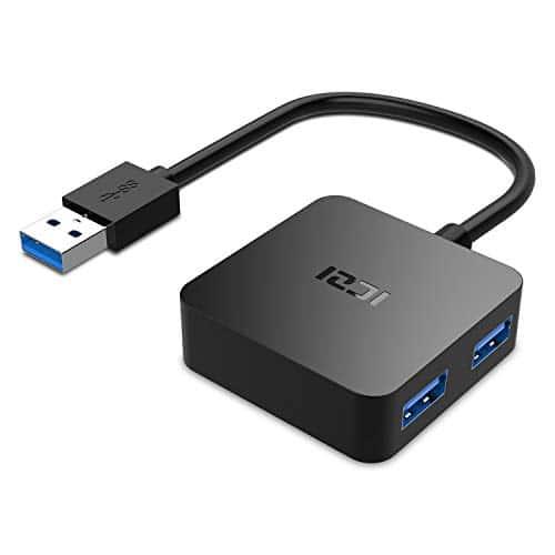 USB 3.0 HUB,ICZI Mini Quadrat USB 3.0 Hub, Extra Leicht 4 Port USB 3.0 Datenhub für Windows Laptop und Andere USB 3.0 Kompatibel Geräten