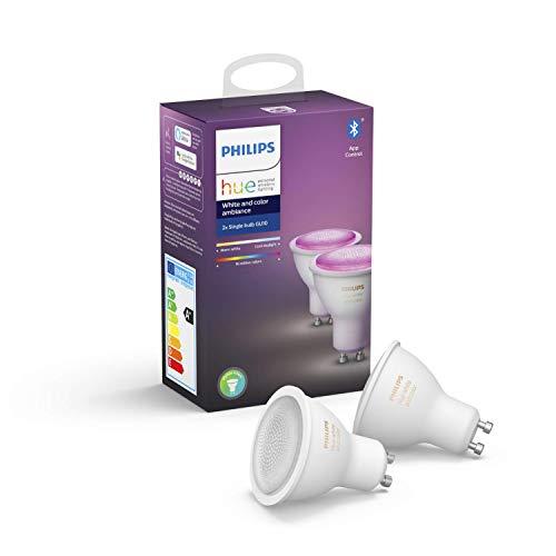 Philips Hue White & Col. Amb. GU10 LED Lampe Doppelpack, dimmbar, bis zu 16 Millionen Farben, steuerbar via App, kompatibel mit Amazon Alexa (Echo, Echo Dot)