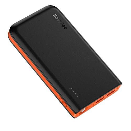 EasyAcc 13000mAh Powerbank Externer Akku mit doppelten Eingängen 4.8A Smart Output Tragbares Ladegerät für iPhone, Samsung, HTC, Huawei, Sony, iPad, Tablets usw. - Schwarz/Orange