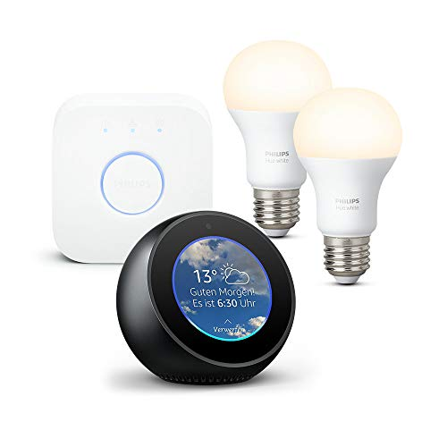 Amazon Echo Spot, Schwarz + Philips Hue White Starter Set