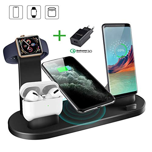 LECHLY Wireless Charger 6 in 1 Induktive Ladestation Qi Kabelloses Ladegerät für iPhone 11/11 Pro Max/XS/XR/X/8/8 Plus/Airpods Pro/2/1, iWatch Serie 5/4/3/2/1, Airpods und andere Qi-fähige Telefone