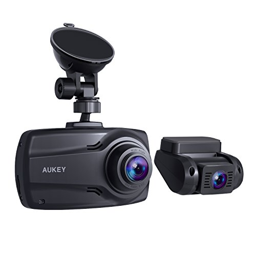 AUKEY 1080p Doppel-Dashcam mit 2,7-Zoll-Display, Front- und Rückfahrkamera mit Full HD, 6 Fahrspuren 170° Weitwinkelobjektiv, Beschleunigungssensor und Autoladegerät mit 2 Anschlüssen