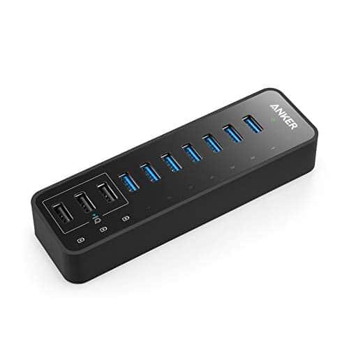 Anker 60W 7-Port USB 3.0 Datenhub mit 3 PowerIQ Ladeports für iPhone, iPad, Samsung, Motorola, HTC, und weitere