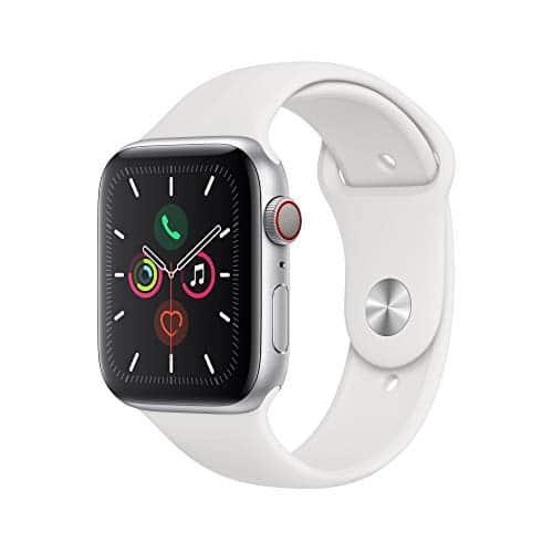 Apple Watch Series 5 (GPS+Cellular, 44 mm) Aluminiumgehäuse Silber - Sportarmband Weiß