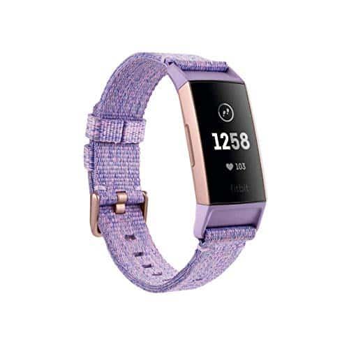 Fitbit Charge 3 Special Edition mit NFC. Der Innovative Gesundheits-und Fitness-Tracker, Lavendel Gewebe/Aluminium-Roségold (inkl. Ersatzarmband in schwarz), Einheitsgröße