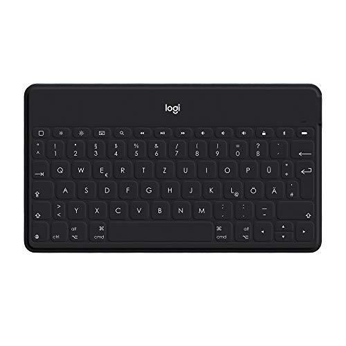 Logitech Keys-to-Go Kabellose Tablet-Tastatur, Bluetooth, iOS-Sondertasten, Ultraleicht & Geräuschlos, 3-Monate Akkulaufzeit, Fürs Tablet und Smartphone, Deutsches QWERTZ-Layout - Schwarz