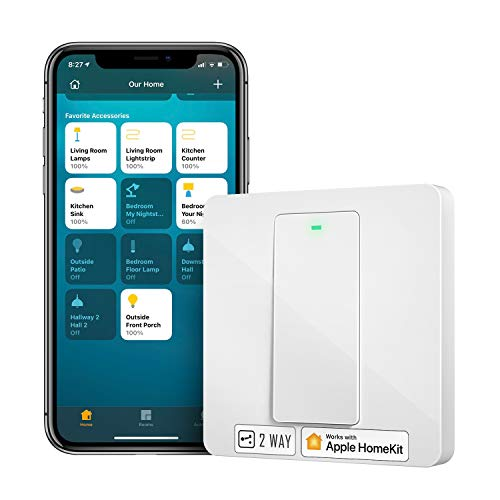 Homekit toggle switch, Meross smart switch, WiFi wall switch, 2 way required neutral conductor, physical button switch, compatible with Siri, Alexa, and Google Home, 2.4 GHz, no hub required