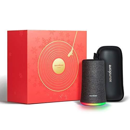 Soundcore Flare Bluetooth Lautsprecher, Limited Edition Speaker mit 360 Rundum-Sound, IPX7 Wasserdichte, 12 Stunden Spielzeit, Fantastischer Bass, Stimmungs-LED-Licht und Premium Reisetasche (Schwarz)