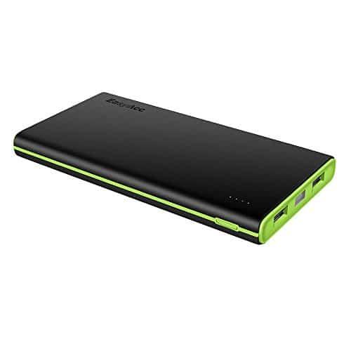 EasyAcc Smart 10000mAh Powerbank Externer Akku Portable Ladegerät für iPhone, iPad, Samsung Galaxy und weitere - Schwarz + Grün