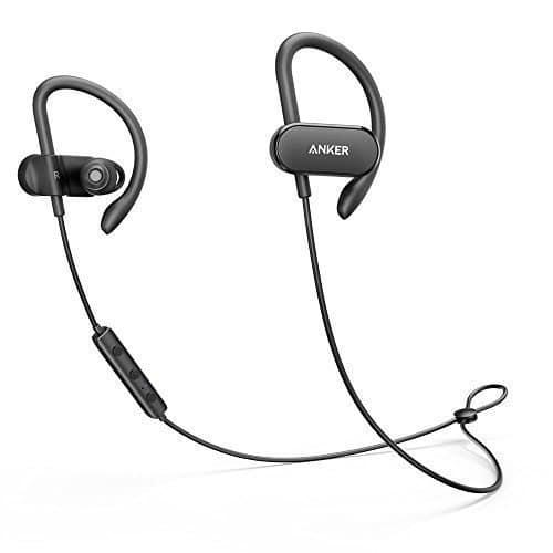 Anker SoundBuds Curve Bluetooth Kopfhörer, Bluetooth 4.1 Sport Kopfhörer mit Ohrbügeln/ Wasserschutzklasse IPX5/ 14-Stunden-Spielzeit/ CVC Lärmreduzierung/ Mikrofon/ Etui, Lauf-Trainings-Headset für iPhone, iPad, Samsung, Nexus, HTC und mehr